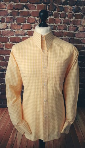 """Abbot"" Lemon Gingham Spear Point Collar Shirt"